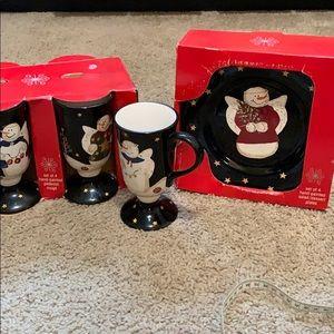 Set of 4 Hand Painted Dessert Plates W/ 4 Mugs